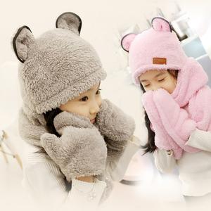 冬季儿童帽子围巾手套三件套加厚保暖韩版男女童护耳帽小孩围脖帽