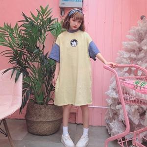 實拍實價~學院風甜美套頭長款寬松T恤連衣裙上衣 9029#