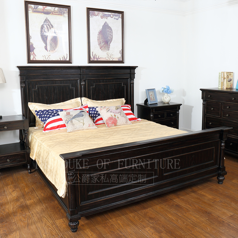 American style all solid wood double bed high-end custom furniture Retro Vintage 1.8 meters oak FINE pure American classical