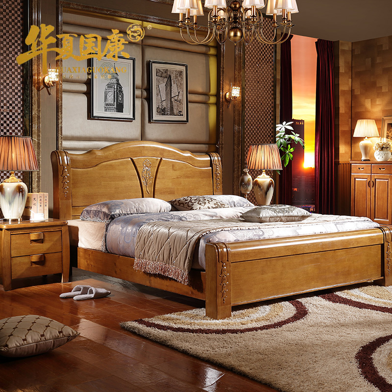 Simple modern solid wood bed, high box bed, oak 1.8 meters bed double bed, high grade solid wood wedding bed in bed