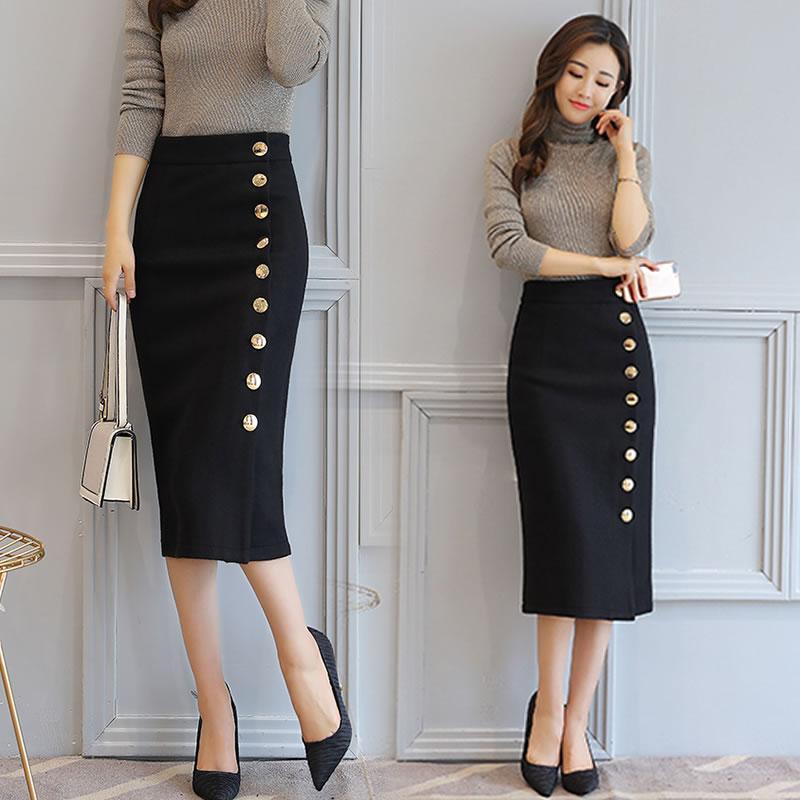 单排扣开叉半身裙秋冬包裙保暖打底毛呢高腰铅笔裙金属扣包臀长裙