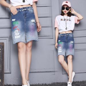 实拍2018做旧破洞喷漆印字蓝色时尚潮流学生女装短裙
