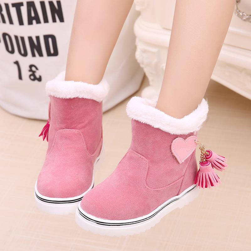 儿童棉鞋男童女童加绒短靴2017冬季保暖宝宝棉鞋雪地棉靴冬鞋防滑
