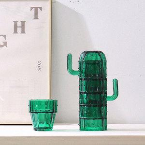 特美刻仙人掌玻璃水杯套装 6只耐热简约茶杯 网红ins家用玻璃杯子