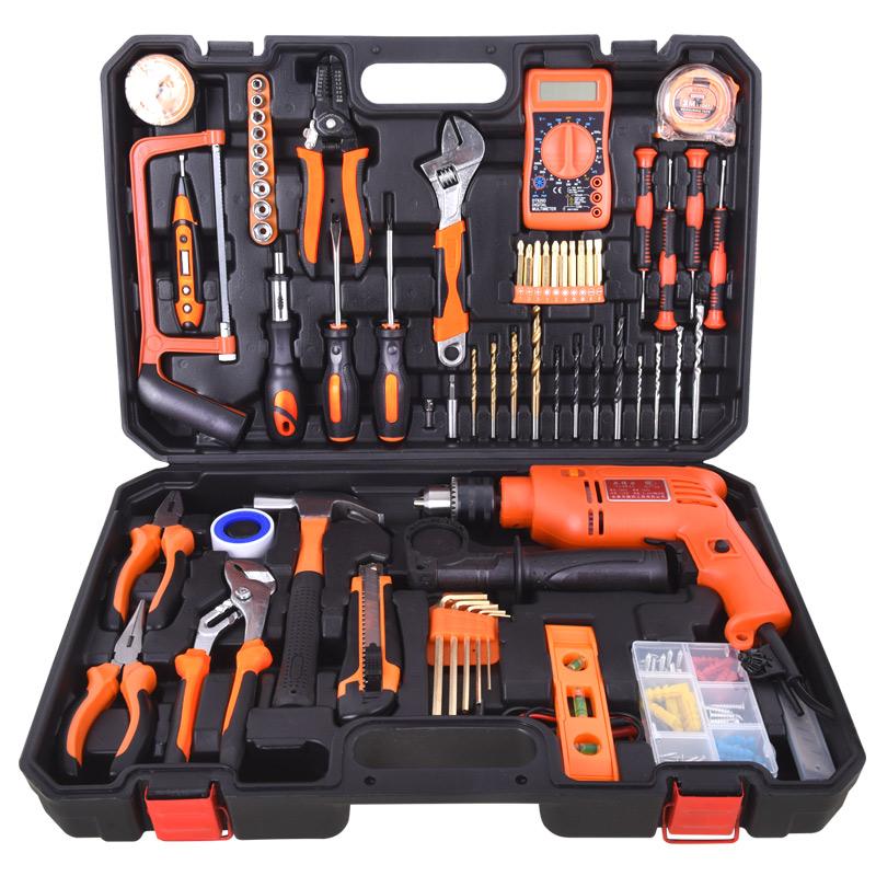 أدوات الحفر الكهربائية الأجهزة الكهربائية المنزلية متعددة الوظائف مجموعة صدمة دليل صيانة السيارات مع مجموعة مربع