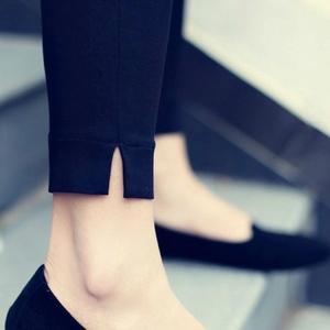 803#【官图】九分春夏黑色打底裤女外穿小脚裤韩版显瘦开叉铅笔裤