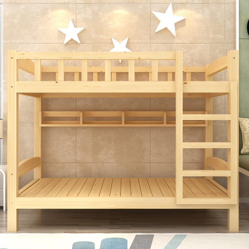 Apartment layout economical 1.2 environmental protection double-layer slide wooden bunk bed adult meters in adolescent girls