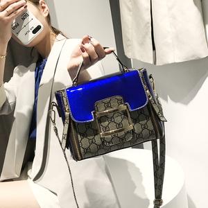 2018新款欧美时尚女包印花小方包手提包锁扣皮带装饰斜挎单肩包