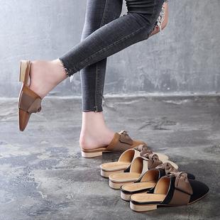 包头半拖鞋女2018新款穆勒鞋女粗跟凉拖女鞋夏时尚平底外穿懒人鞋
