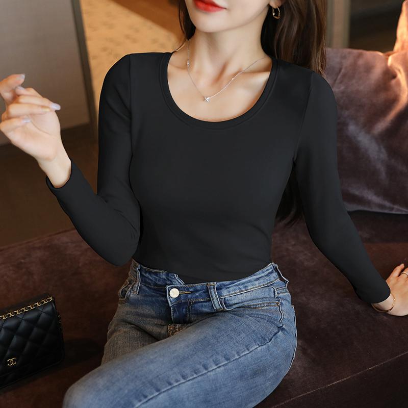 黑色长袖T恤女打底衫春秋季内搭上衣秋冬百搭秋衣2020年新款德绒