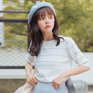 实拍1752#夏装新款女装韩版潮套头上衣短袖t恤女打底衫薄款针织衫