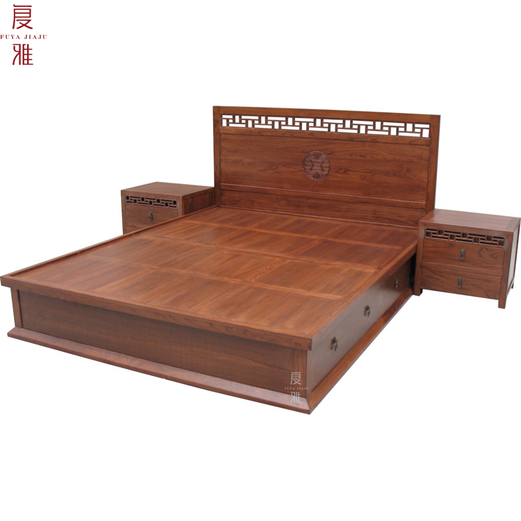 Double bed head cabinet antique furniture bedroom furniture double bed double bed Chinese elm wood