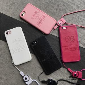 苹果8顽皮豹全包边皮质挂绳手机壳