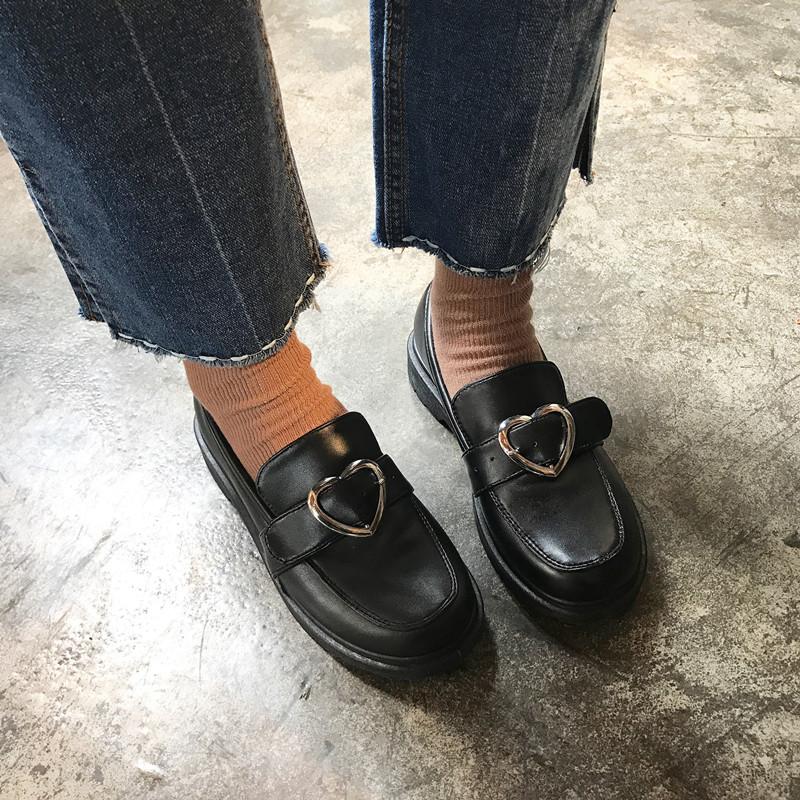 2017春女鞋英学院风小皮鞋原宿复古单鞋韩国百搭学生爱心大头鞋女