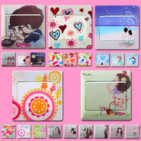 Creative switch Stickers Wall Stickers, fashion home color switch stickers, lovely wall socket stickers