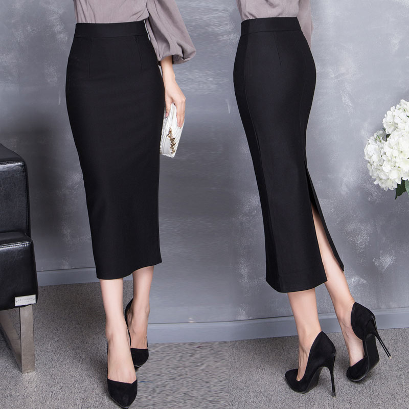 職業秋鼕季包臀長裙修身高腰半身裙後開叉一步裙顯瘦中長裙鉛筆裙