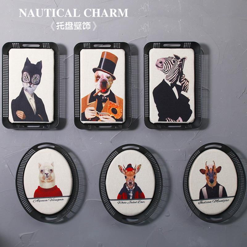 方形l001美式復古橢圓鐵質托盤造型墻飾動物擬人圖形壁飾個性家居裝飾畫