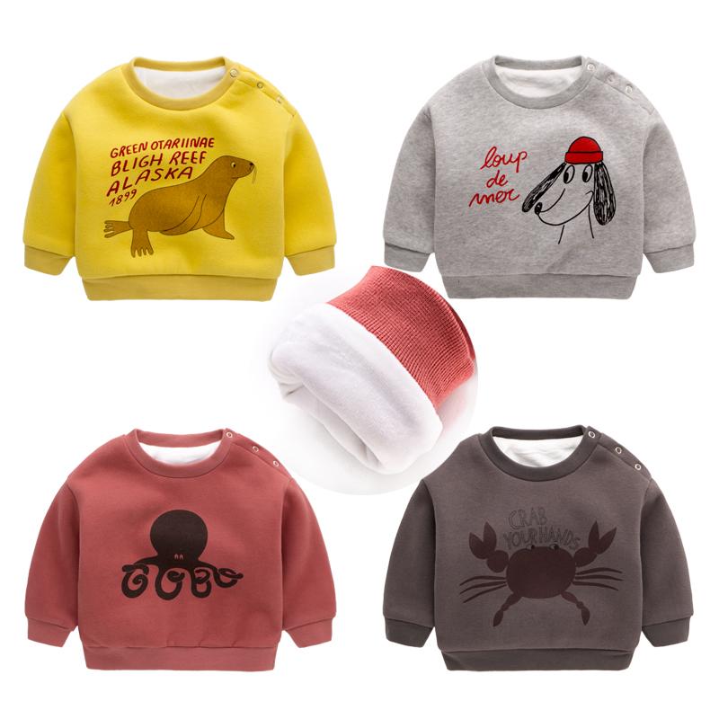 男童加绒卫衣冬季女宝宝童装加厚绒衫新生儿套头上衣婴儿衣服冬装