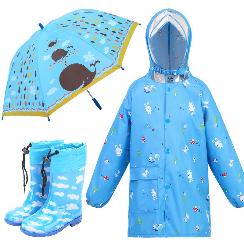 环保儿童大帽檐雨衣牛津布男女童雨衣雨鞋套装学生雨披拉链冲锋衣