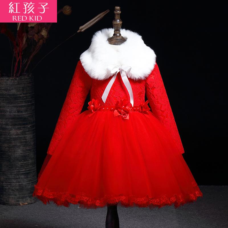 花童婚纱礼服女童装公主裙子儿童连衣裙演出服加绒保暖秋冬装冬季