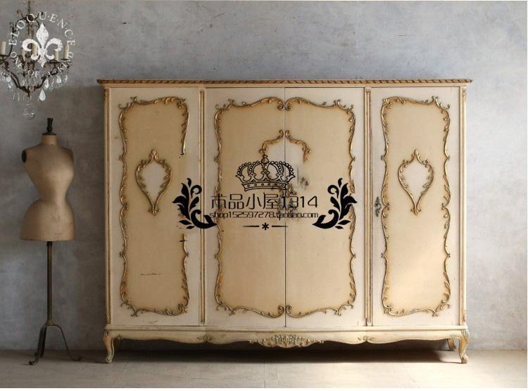 Des meubles de style rétro - acier - bois vieux placard en bois sculpté 4 placard à portes de réservation