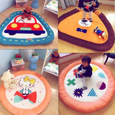 全棉大版卡通儿童地垫 圆形可收纳卧室宝宝加厚爬行垫儿童软床垫