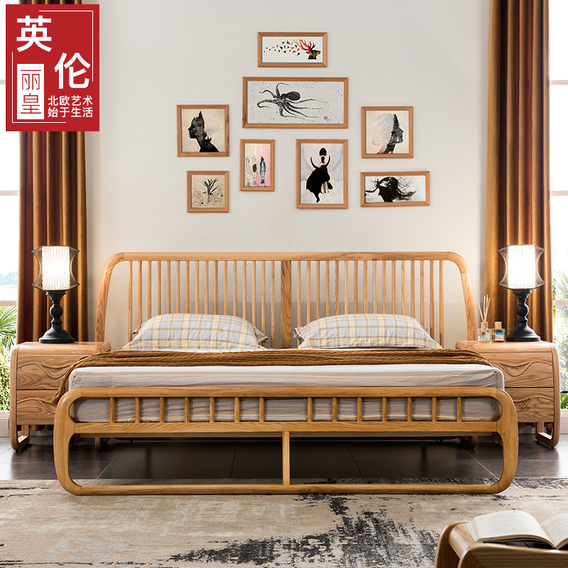 Solid wood bed, 1.8 meter wedding bed, Nordic bedroom furniture, modern simple bed, 1.5 meter white wood, Japanese double bed