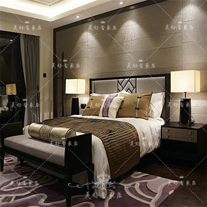 New Chinese double solid wood bed, small family, special bed, whole house custom hotel engineering sample room