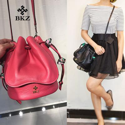 正品代购 BKZ 女包 抽绳小碎花 花朵包真皮花瓣水桶包 单肩斜跨包
