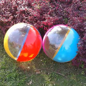 男女儿童超大号沙滩球宝宝海洋球 小孩玩的球成人透明充气戏水球