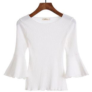 白色T恤女秋季七分喇叭中袖修身显瘦上衣紧身针织打底衫短袖韩版