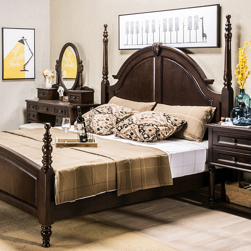 [imported red oak] American country bedroom furniture, solid wood bed, 1.8m meter double bed model villa