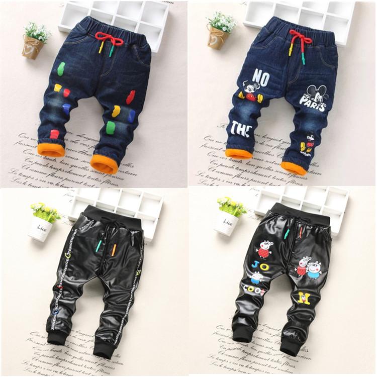 童裤男童牛仔裤冬款女童休闲裤加绒加厚宝宝棉裤1-2-3-4-5-6-7-岁