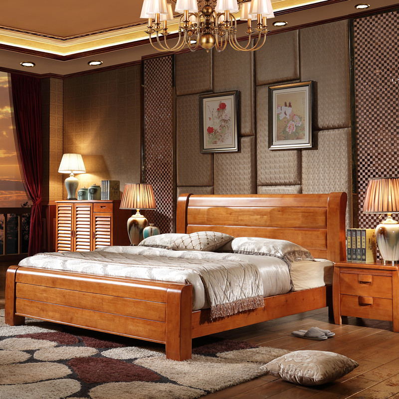 Modern Chinese oak bed, all solid wood bed, 1.8 m double bed, high box bed, 1.5 meter storage box, bed wedding bed