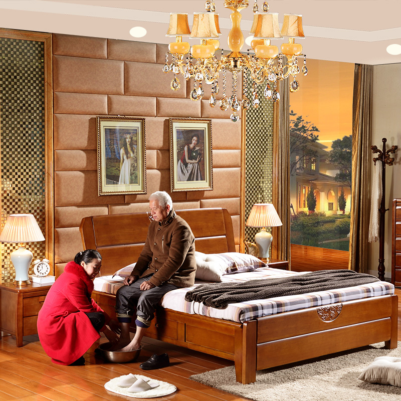Solid wood bed master, modern minimalist, new Chinese style 1.8 meters double rubber oak wedding bed, storage high box bed 1.5M
