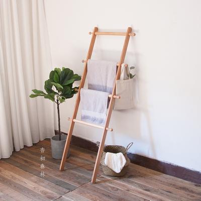 北欧实木落地日式小梯子卧室浴室靠墙毛巾木头收纳置物衣帽挂衣架