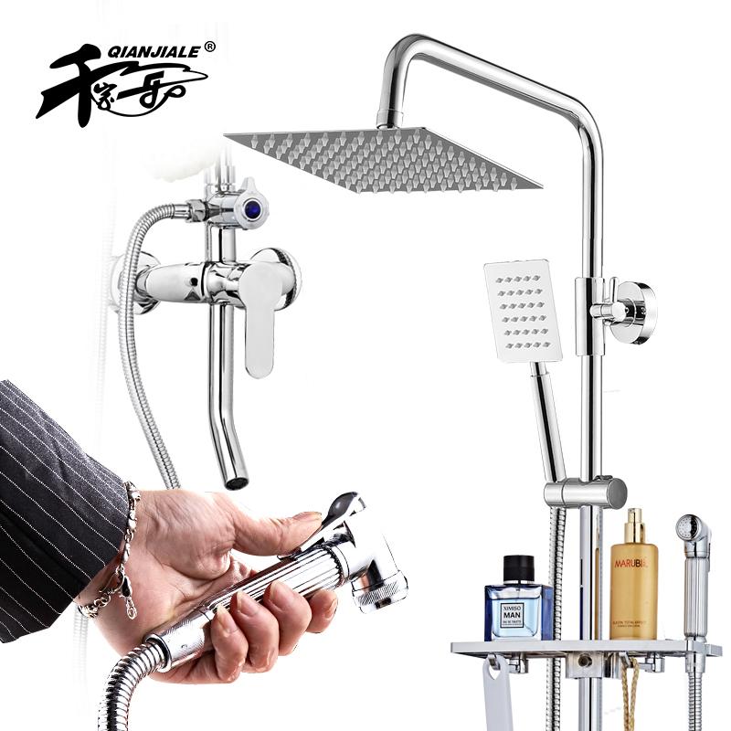 Traje de baño ducha ducha mezcla de válvula de presión de agua fría y caliente la plaza fuerte de cobre colgando de la