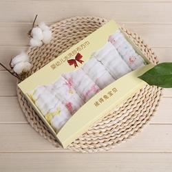 6条礼盒装卡通印花口水巾婴儿宝宝纱布巾新生儿小方巾纯棉