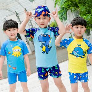 儿童泳衣男童分体小中大童防晒男孩宝宝泳裤套装可爱恐龙游泳衣潮