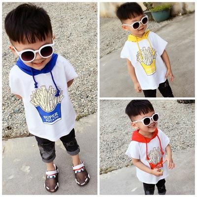 儿童可变色连帽短袖休闲T恤男女宝宝韩版童装薯条半袖上衣潮夏装