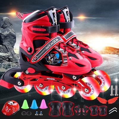 瑞士真好儿童直排溜冰鞋可调男童女童闪光轮滑鞋全套初学者旱冰鞋