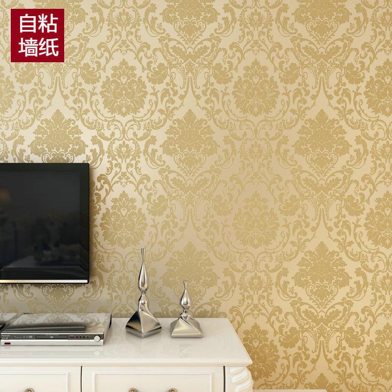 米黃色【0.53*3米】大自粘歐式3d立體大馬士革墻紙臥室客廳餐廳背膠壁紙電視背景墻貼紙