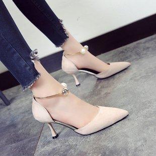 23 单鞋2019夏季新款韩版百搭时尚尖头浅口高跟鞋珍珠女凉鞋