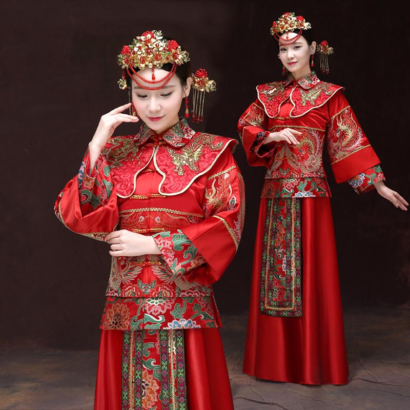 對鳳秀禾xxs胸圍86秀禾服新娘復古中式禮服結婚古裝嫁衣古裝新婚長袖敬酒服大碼修身
