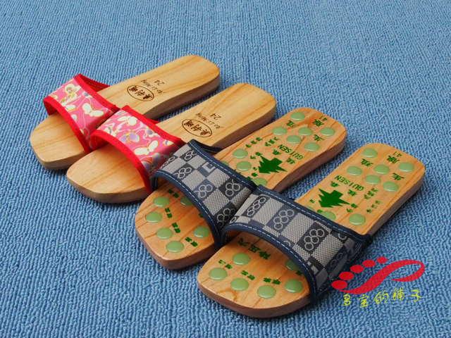 桂森玉石穴位按摩木拖鞋木板鞋平板夏季凉拖木屐男女防滑木头