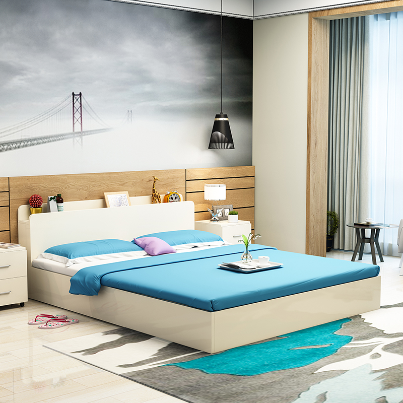Modern minimalist type bed single bed 1.2 meters 1.5m1.8 meters high tatami bed storage box containing bed bed