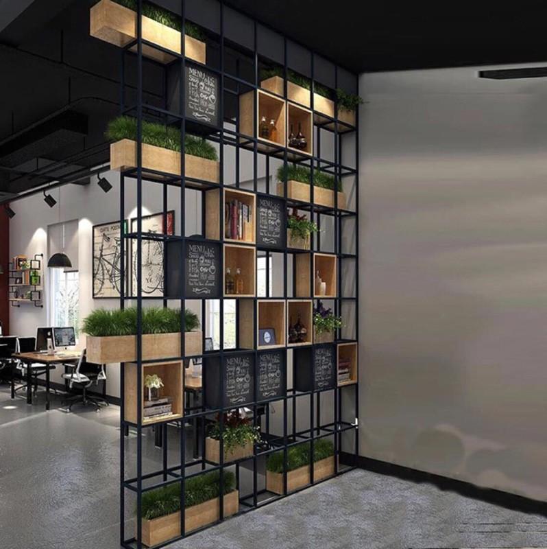 ロフト工業風家具アメリカン本棚復古本箱アイアン棚置物架材の仕切りぶり展示機
