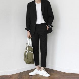 韩版休闲西装男修身潮流男士商务帅气外套青年正装小礼服西服套装