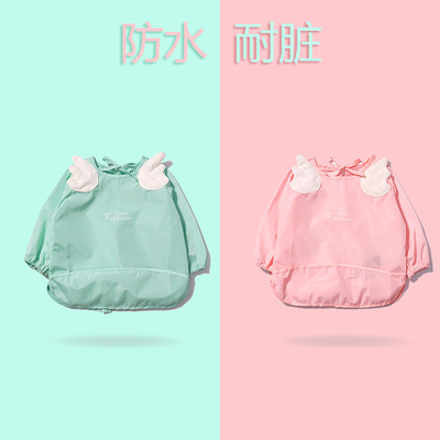 Baby Bib Gown waterproof baby apron girl eating clothes female children drawing baby long sleeves anti-dress bib summer