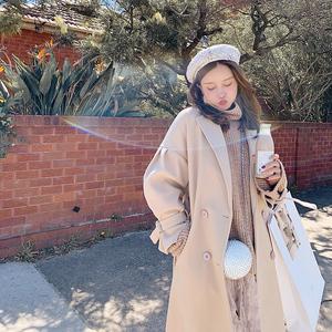 滕雨佳毛呢外套女2018新款秋冬中长款呢子大衣韩版学生